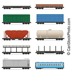 jogo, ícones, trem, ilustração, carruagem, vetorial, estrada ferro
