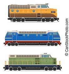 jogo, ícones, trem, ilustração, vetorial, estrada ferro, locomotiva