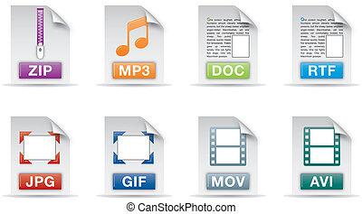jogo, ícones, um, computador, arquivo, documento