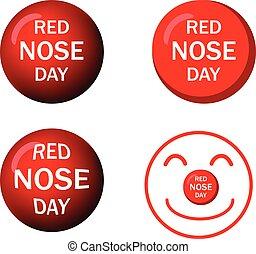 jogo, ícones, vetorial, desenho, nariz, vermelho