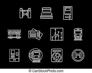 jogo, ícones, vetorial, estação metrô, linha branca