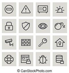 jogo, ícones, vetorial, pretas, linha, segurança