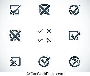 jogo, ícones, vetorial, pretas, marcas, cheque