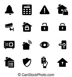 jogo, ícones, vetorial, pretas, segurança lar
