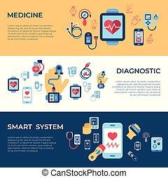 jogo, ícones, vetorial, saúde, digital, sensor