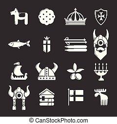 jogo, ícones, viagem, cinzento, suécia, vetorial