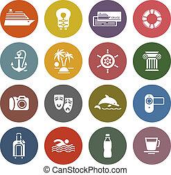jogo, &, ícones, viagem férias, recreação