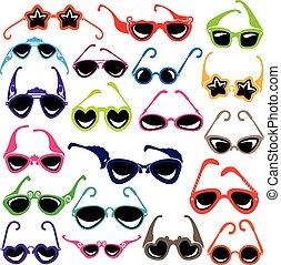 jogo, óculos de sol, coloridos, isolado, experiência., branca, ícone