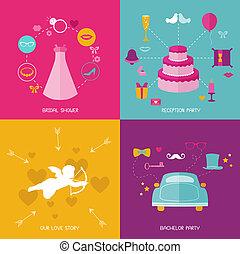 jogo, óculos, estacas, -, vetorial, bigodes, photobooth, partido casamento, chapéus, elementos
