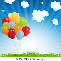 jogo, 10., illustration., eps, vetorial, balões, colorido