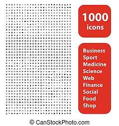 jogo, 1000, ícones