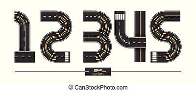 jogo, 12345, números, estrada