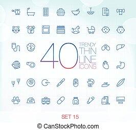 jogo, 15, ícones, 40, magra, trendy