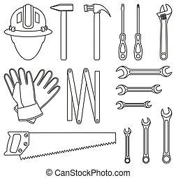 jogo, 15, handyman, pretas, arte, linha, ferramentas, branca