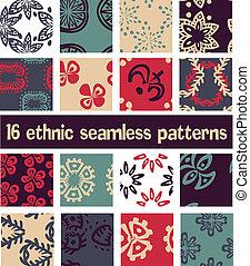 jogo, 16, padrão, abstratos, seamless, étnico
