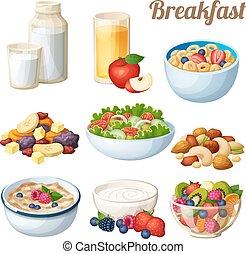 jogo, 2., ícones, alimento, isolado, pequeno almoço, vetorial, fundo, branca, caricatura