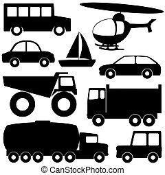 jogo, 2, de, diferente, transporte, silhuetas