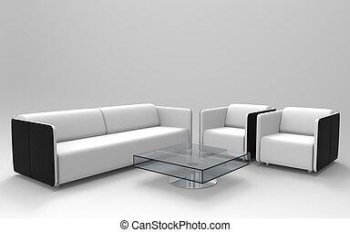 jogo, 2, mobília moderna