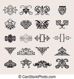 jogo, 20, cor, um, elementos, desenho, ornate