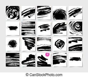 jogo, 20, padrão, escovas, quadrado, tinta preta, grunge