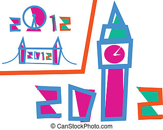 jogo, 3, londres, ilustrações, games., 2012