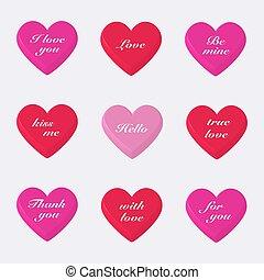 jogo, 3d, valentines, corações