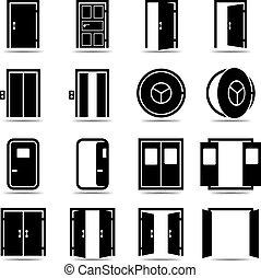 jogo, abertos, portas, fechado, ícones