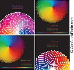 jogo, abstratos, espectro, quatro, fundo, rodas