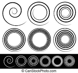 jogo, abstratos, espiral, vector., 6, element.