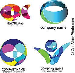 jogo, -, abstratos, logotipos