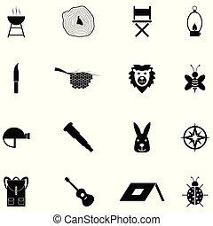 jogo, acampamento, ícone