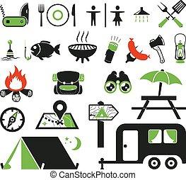 jogo, acampamento, ícones