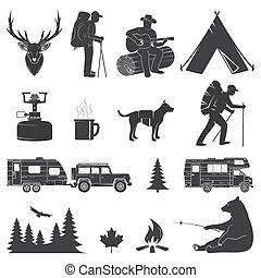 jogo, acampamento, ícones, isolado, experiência., branca