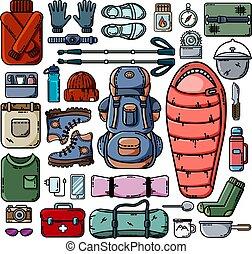 jogo, acampamento, ícones, isolado, fundo, branca