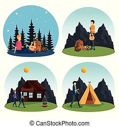 jogo, acampamento, natureza, homens, mulher, paisagem
