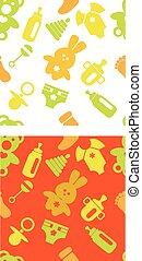 jogo, acessórios, padrões, cores, verde, bebês, laranja
