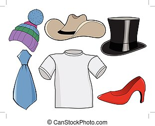 jogo, acessórios, roupas