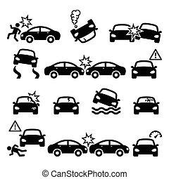 jogo, acidente, ícones, pessoal, car, vetorial, choque, ferimento, estrada