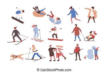 jogo, activities., femininas, inverno, vestido, gelo, snowboarding, apartamento, outerwear, homens, cobrança, caráteres, esquiando, caricatura, mulheres, illustration., executar, hockey., patinação, vetorial, macho, tocando