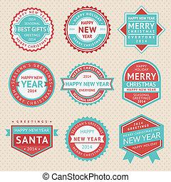 jogo, adesivos, e, emblemas, para, cartões natal