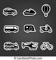 jogo, adesivos, transporte, ícones