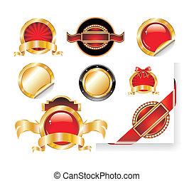 jogo, adesivos, vermelho, ouro, etiqueta