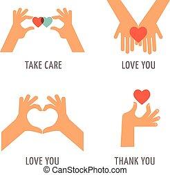 jogo, agradecer, amor, -, apoio, tomar, mãos, tu, cuidado