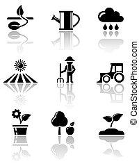 jogo, agricultura, ícones