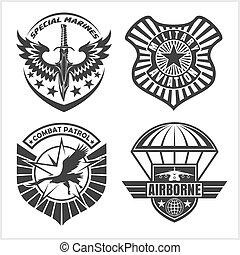 jogo, airforce, etiquetas, -, remendo, forças, militar,...