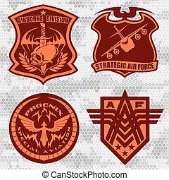 jogo, airforce, etiquetas, -, remendo, forças, militar, logotipo, armado, emblemas