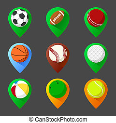 jogo, alfinete, bolas, traçando, tag, geo, ícone