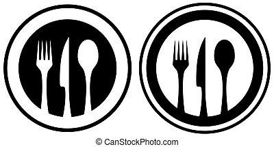 jogo, alimento, ícone, com, utensílio cozinha