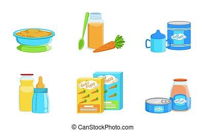 jogo, alimento., illustration., bebê, vetorial, produtos