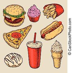 jogo, alimento, ilustração, mão, vetorial, rapidamente, desenhado